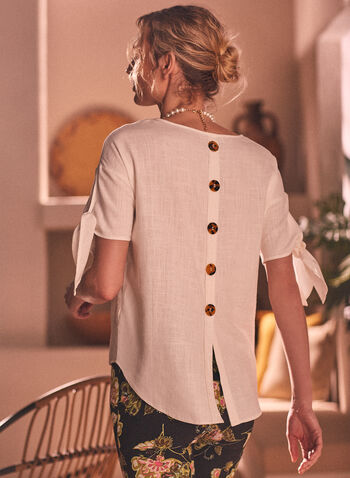 Tie Detail Button Back Top, Off White,  spring summer 2021, tie detail, tie sleeve, button back, linen, linen blend, tunic, scoop neck, 3/4 sleeve