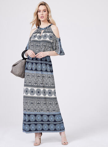 Maggy London - Robe maxi motif aztèque, Bleu, hi-res