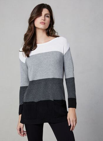 Vince Camuto - Colour Block Sweater, Grey,  Vince Camuto, sweater, knit, long sleeves, ribbed, colour block, fall 2019, winter 2019