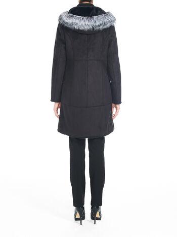 Faux Shearling Toggle Front Coat, Black, hi-res