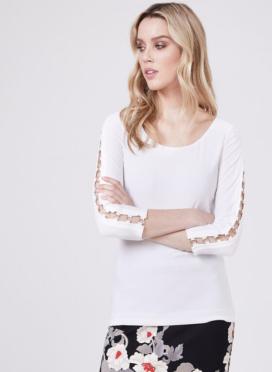 ¾ Sleeve Scoop Neck Blouse, Off White, hi-res