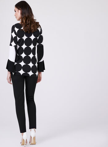 Polka Dot Bell Sleeve Blouse, Black, hi-res
