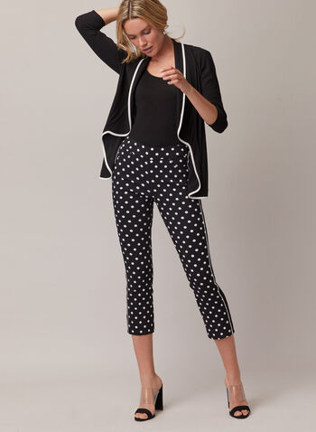 Polka Dot Pull-On Capris, Black,  capris, pull-on, bengaline, pockets, polka dot, spring summer 2020