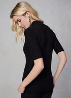 Short Sleeve Knit Sweater , Black, hi-res