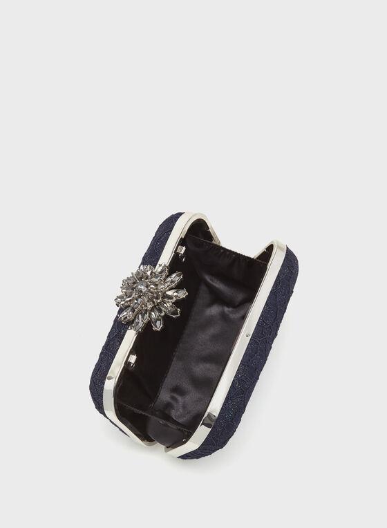 Minaudière en dentelle florale, Bleu, hi-res