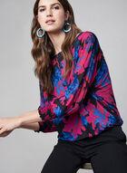 Floral Print Shirred Wrists Blouse, Multi, hi-res