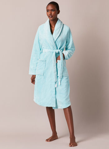 Waffle Knit Flannel Robe, Blue,  robe, flannel, waffle, pockets, fall winter 2020