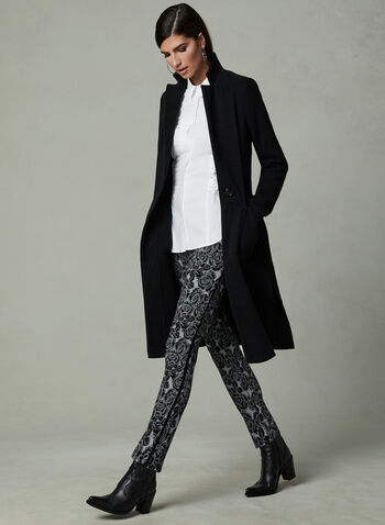 Pantalon pull-on à jambe étroite et motif fleurs, Noir, hi-res,