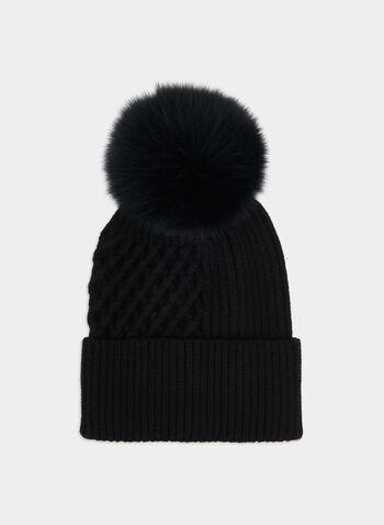 Bonnet en tricot à pompon de fourrure , Noir,  fourrure, fourrure véritable, fourrure de renard, automne hiver 2019