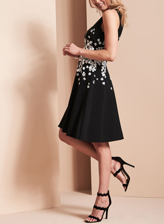 Maggy London - Floral Appliqué Dress, Black, hi-res