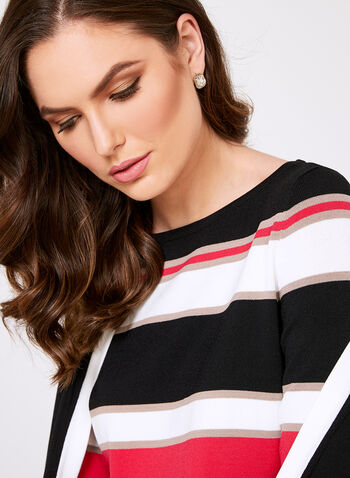 Bold Stripe Knit Sweater, Black, hi-res