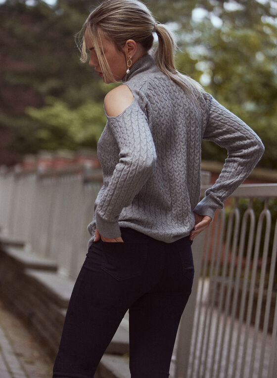 Cold Shoulder Cable Knit Sweater, Grey