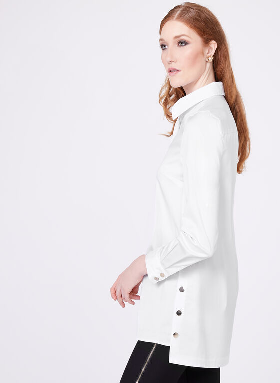 Button Down Long Sleeve Tunic Blouse, White, hi-res