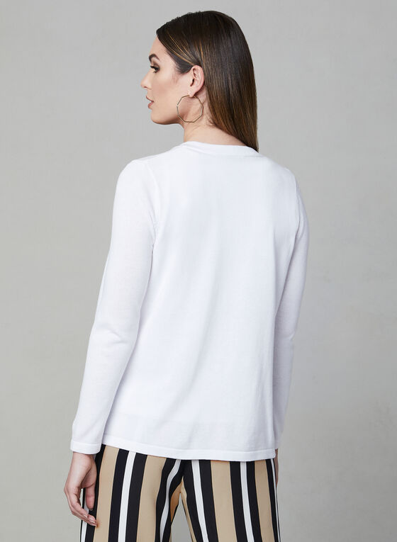Alison Sheri - Open Front Knit Cardigan, White, hi-res