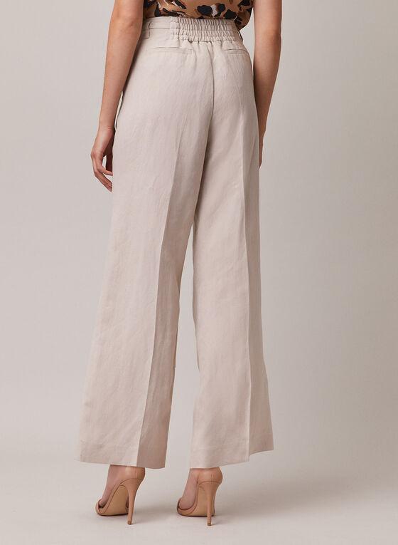Pantalon à jambe large en lin, Blanc cassé