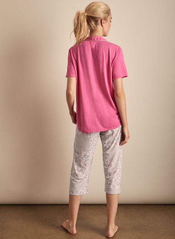 Claudel Lingerie - Shirt & Capri Pyjama Set, Pink