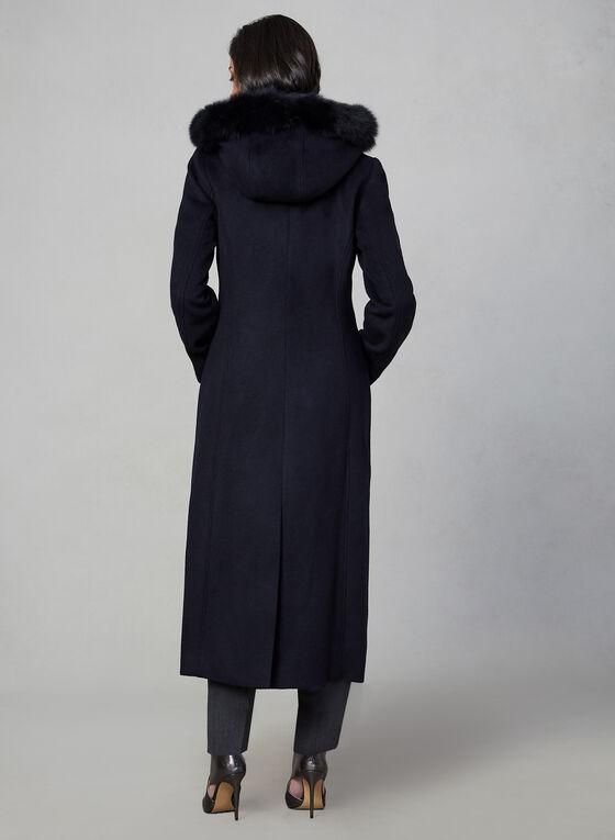 Anne Klein - Wool & Fox Fur Long Coat , Blue