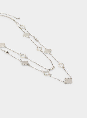 Double Chain Necklace, Silver, hi-res,  clover, fall 2019, winter 2019, metallic, chain