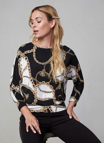 Chain Print Dolman Sleeve Top, Black,  fall winter 2019, 3/4 sleeves, made in canada, jersey, dolman sleeves
