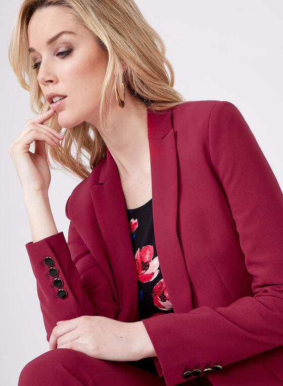 Tailored Fit Single Button Blazer, Red, hi-res