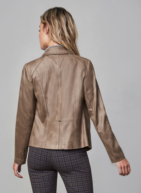 Vex - Blazer en faux cuir et détails zippés, Brun, hi-res