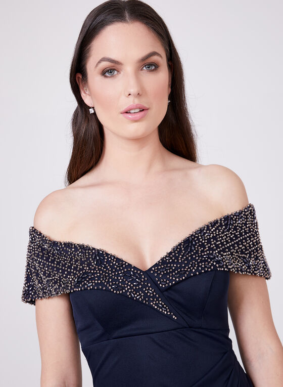 BA Nites - Off The Shoulder Ruched Dress, Blue, hi-res