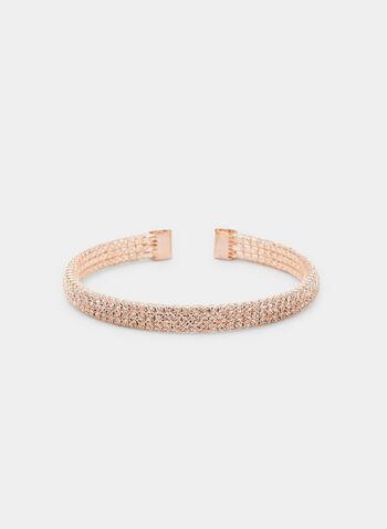Bracelet rigide à cristaux, Rose, hi-res