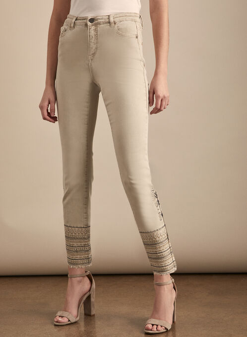 Sequin Detail Slim Leg Jeans , Off White