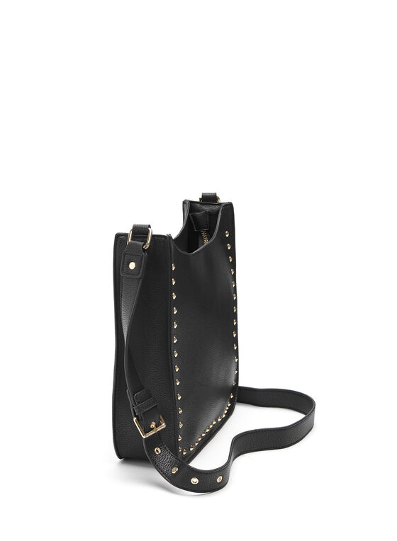 Studded Crossbody Bag, Black, hi-res
