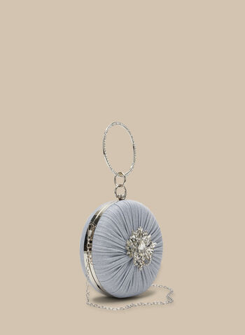Pleated & Sequined Round Clutch , Silver,  clutch, round, sequin, crystal, ring handle, pleated, broach center, spring 2020
