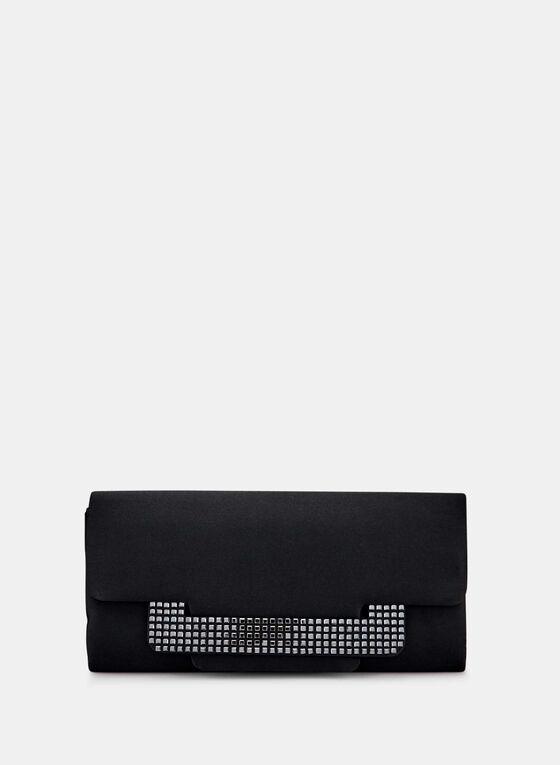 Crystal Embellished Flapover Clutch, Black, hi-res