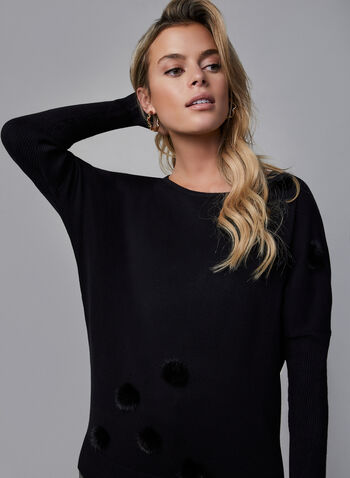 Vex - Pompom Sweater, Black,  Vex, sweater, knit, long sleeves, dolman sleeves, fall 2019, winter 2019