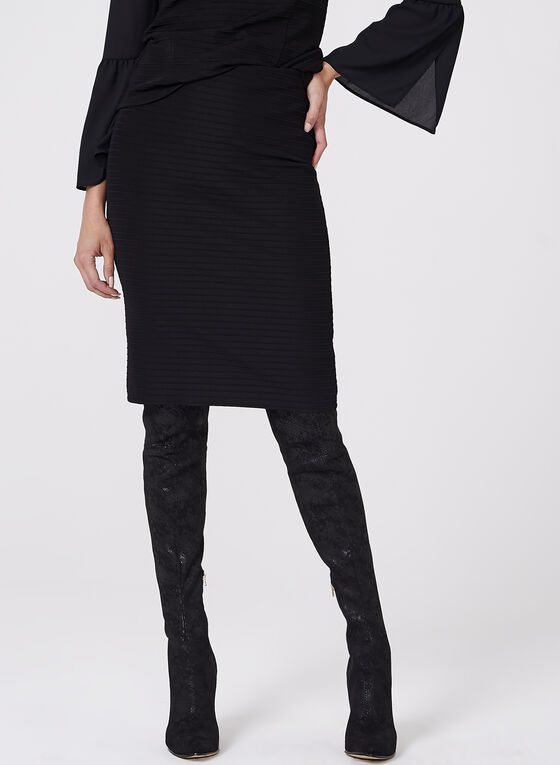 Ottoman Knit Pencil Skirt, Black, hi-res