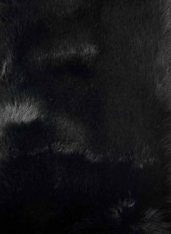 Col-écharpe en fausse fourrure, Noir