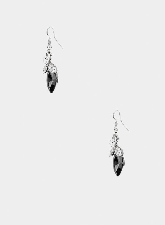 Pendants d'oreilles à pierre et cristaux, Noir