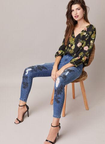 Jeans étroit à pierres et motif dentelle , Bleu,  jeans, jambe étroite, denim, dentelle, pierres, usé, automne hiver 2020