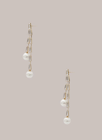 Double Pearl Dangle Earrings, Off White,  fall winter 2020, earrings, pearl, crystal, jewelry, jewellery, accessories