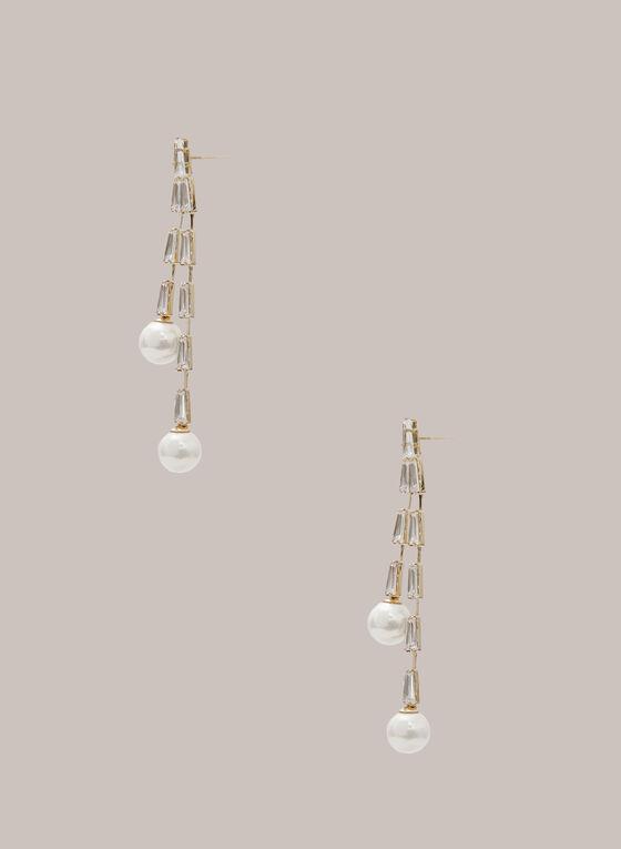 Boucles d'oreilles à perles et cristaux, Blanc cassé