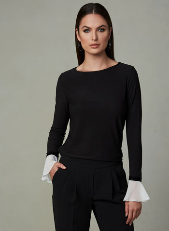 Contrast Sleeve Top , Black, hi-res