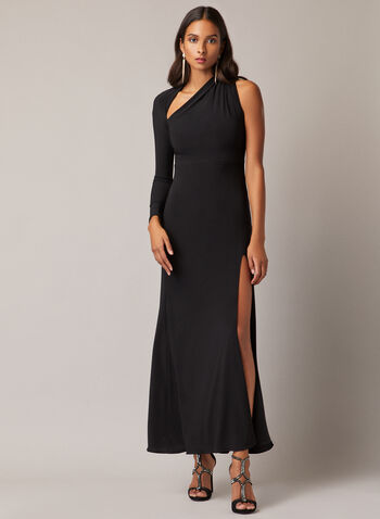 Asymmetric Neckline Dress, Black,  evening dress, jersey, asymmetric, high slit, fall winter 2020