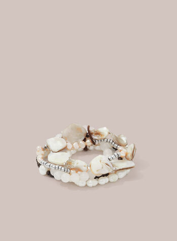Pearl & Seashell Bracelet, Off White,  bracelet, pearls, seashells, stretchy, spring summer 2020