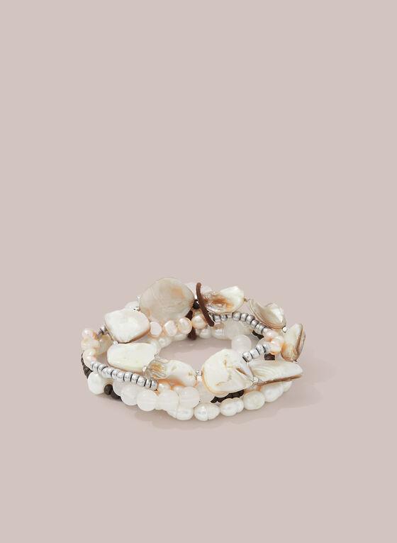 Bracelet extensible à perles et coquillages, Blanc cassé