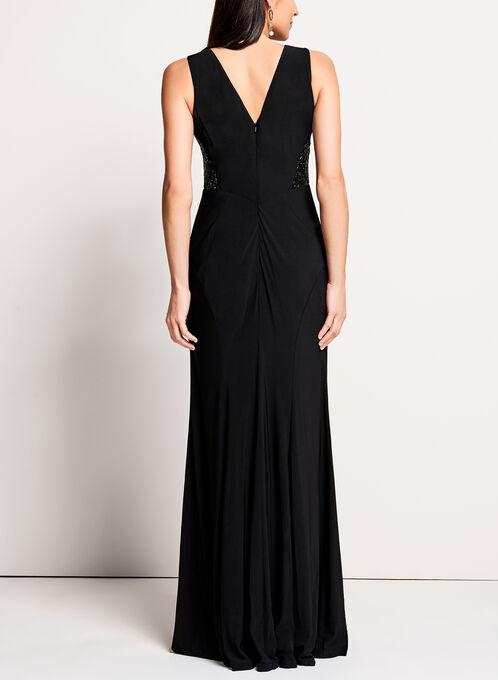 Beaded Mesh Jersey Gown, Black, hi-res