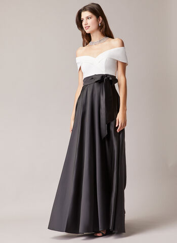 BA Nites - Bow Detail Ballgown, Black,  evening dress, satin, bow, crepe, off the shoulder, fold-over, spring summer 2020