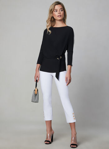 Contrast Piping Crepe Top, Black,  Canada, 3/4 sleeves, contrast piping, top, crepe, spring 2019, summer 2019