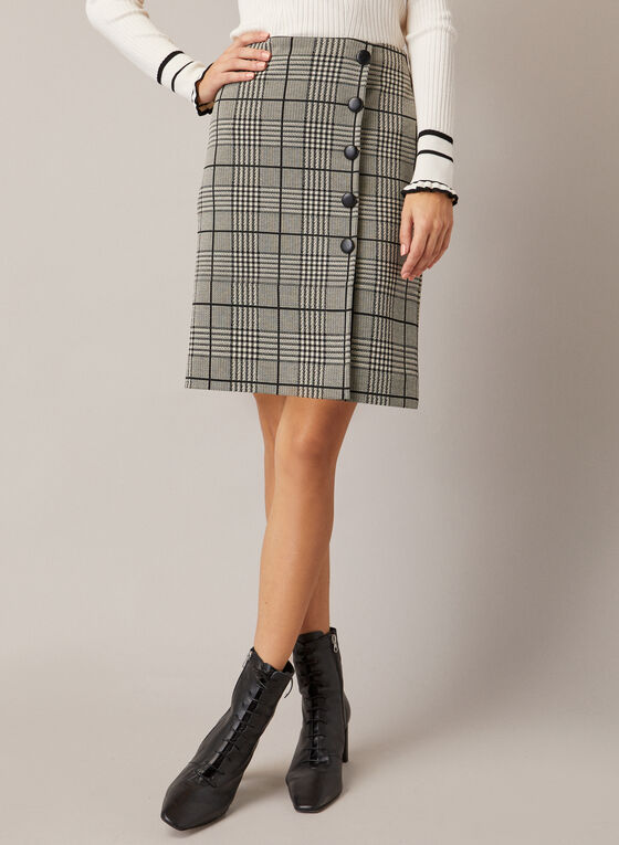 Tartan Print Button Detail Skirt, Black