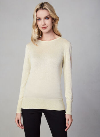 Peak-a-Boo Sleeve Knit Sweater, Off White, hi-res,  sweater, knit, peek a boo, long sleeves, crew neck, fall 2019, winter 2019