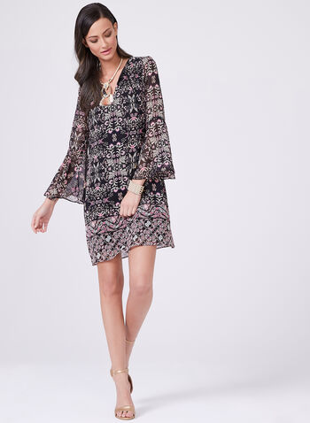 Vince Camuto - Abstract Print Shift Dress, Black, hi-res