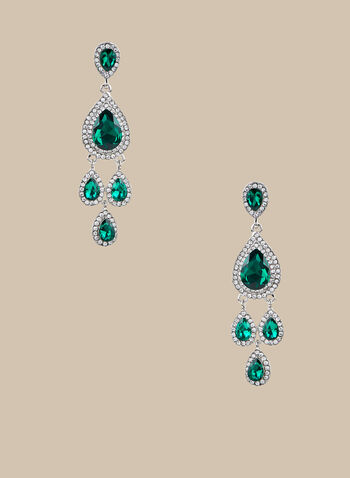 Teardrop Chandelier Earrings, Green,  earrings, chandelier earrings, teardrop earrings, spring 2020, summer 2020