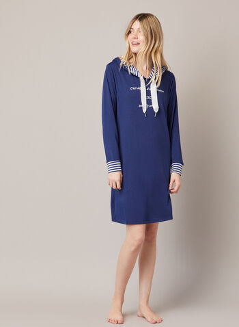 Contrast Hooded Nightshirt , Blue,  fall winter 2020, nightshirt, hood, contrast, drawstring